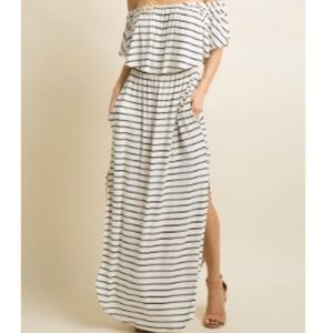 Ivory striped ruffle Off shoulder maxi dress